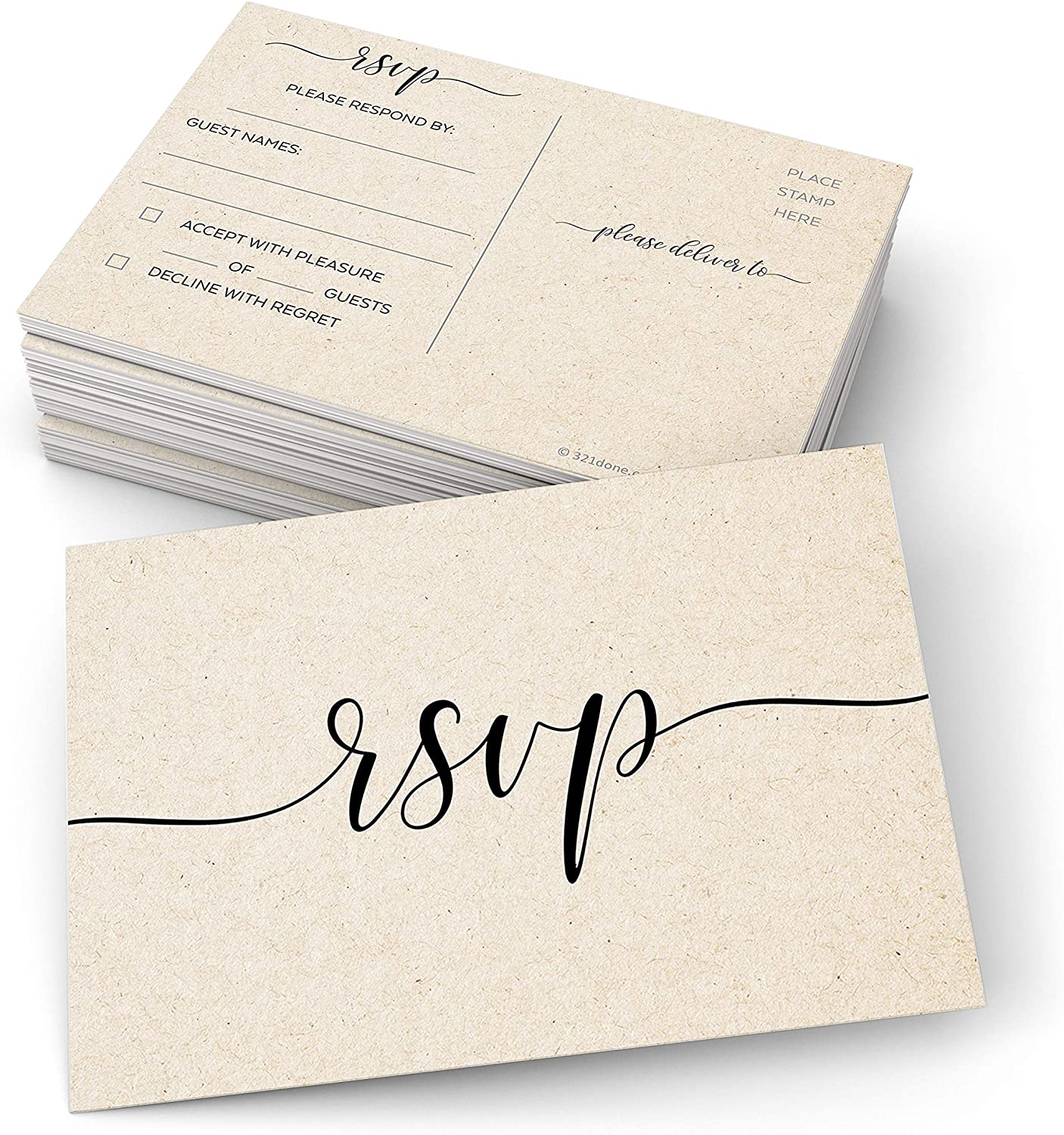 """321Done RSVP Postcards (Set of 50) Small 3.5"""" x 5"""" – Rustic Kraft Tan, Limit Guests, USPS Post Office Addressing Response Cards for Wedding, Bridal Shower, Baby Shower - Made in USA - Formal Elegant"""
