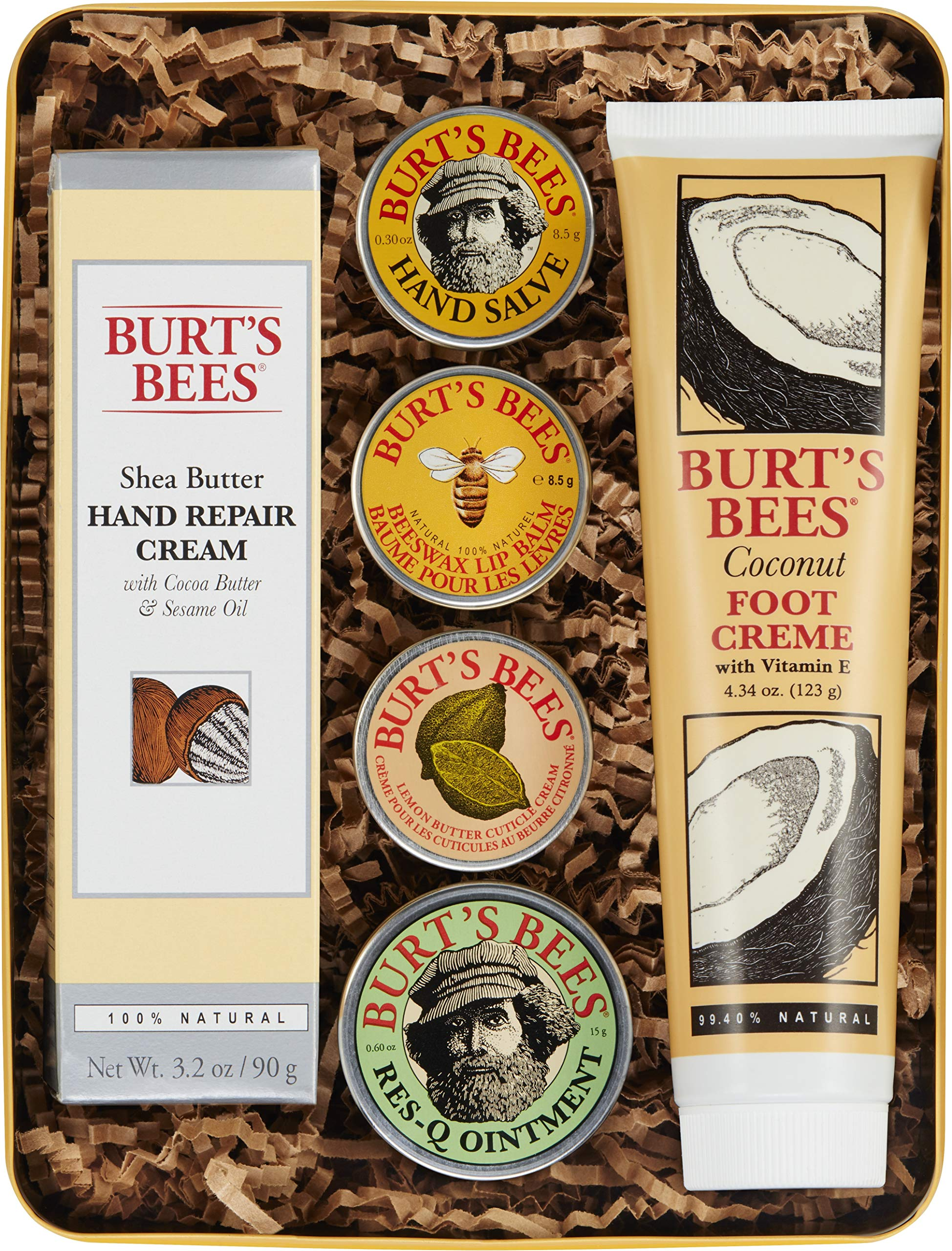 Burt's Bees Classics Gift Set, 6 Products in Giftable Tin - Cuticle Cream, Hand Salve, Lip Balm, Res-Q Ointment, Hand Repair Cream and Foot Cream by Burt's Bees