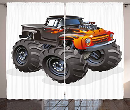 Lunarable Boyu0027s Room Curtains, Monster Truck In Flame Big Hobby Sports  Exotic Automobile Style Image