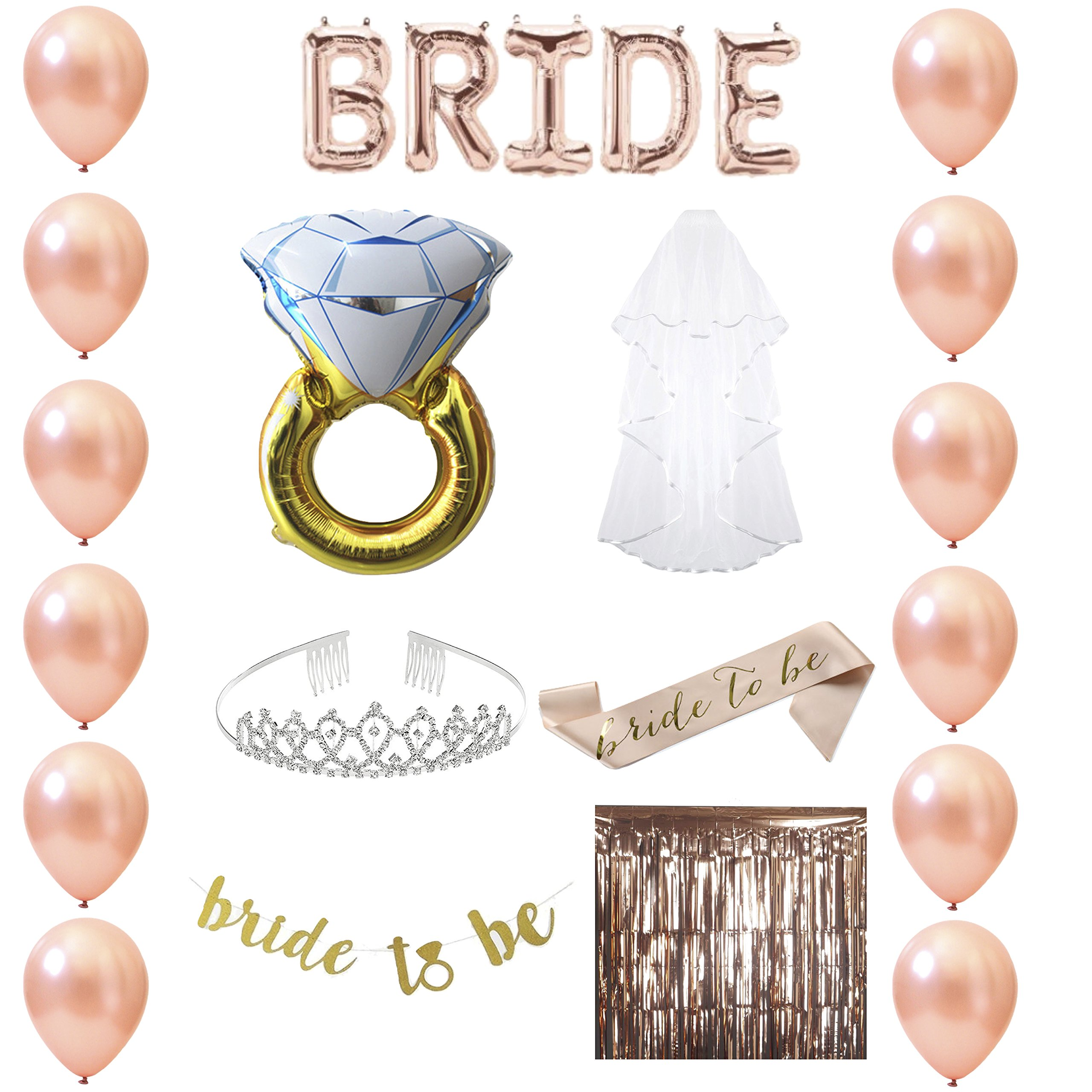 Bachelorette Party Supplies Rose Gold Set - Bridal Shower Decorations, and Favors Kit with Balloons, Tiara, Veil, Sash, Banner, Ring and Photo Booth Background.