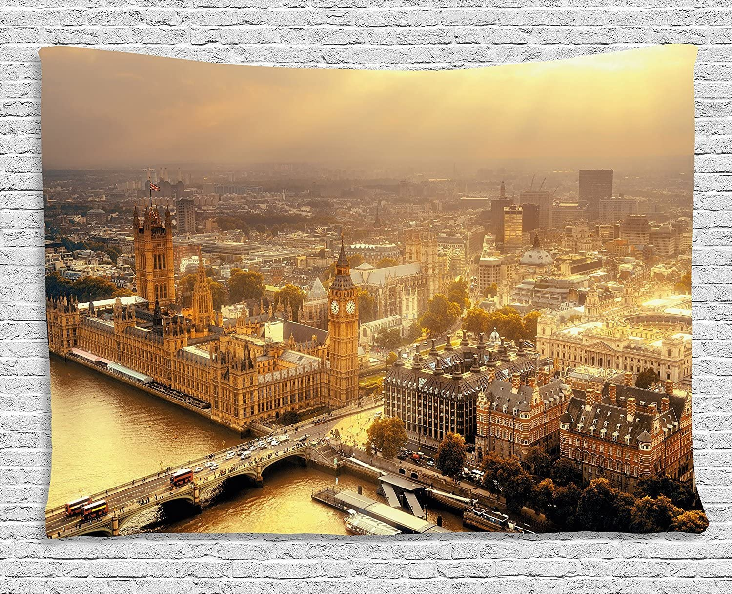 Ambesonne Cityscape Tapestry, Westminster Aerial View with Thames River and London Urban Cityscape Panoramic, Wide Wall Hanging for Bedroom Living Room Dorm, 60