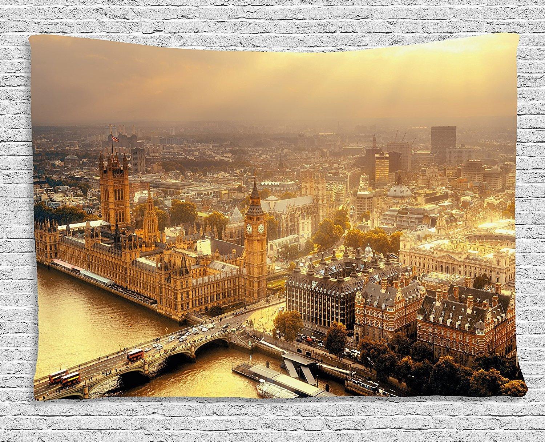 都市景観タペストリー壁吊りby Ambesonne、Westminster aerial view withテムズ川とロンドンUrban Cityscapeパノラマ画像、寮寝室リビングルーム装飾、60 wx40lインチ、ゴールドグレー B01N1Z8W8W