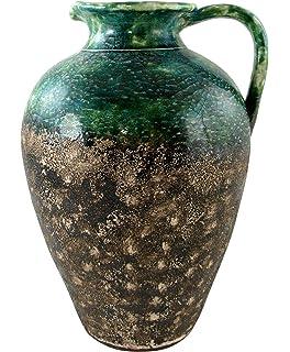 Lifestyle /& More Moderne Deko Vase Blumenvase Bodenvase aus Keramik Creme//Braun H/öhe 60 cm