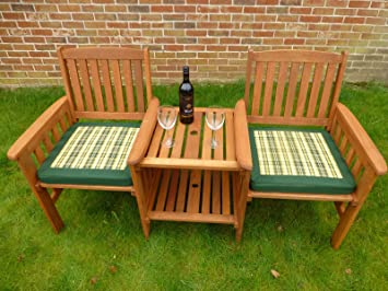 uk gardens heavy duty wooden garden love seat bench with parasol hole table and
