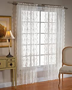 SKL Home by Saturday Knight Ltd. Petite Fleur Curtain Panel, 56 inches x 84 inches, White