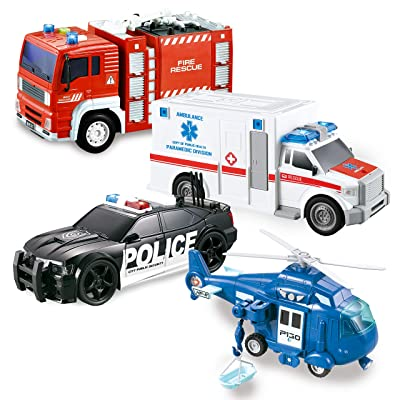 JOYIN 4 Pack Friction Powered City Hero Play Set Including Fire Engine Truck, Ambulance, Police Car and Helicopter Emergency Vehicles with Light and Sound: Toys & Games