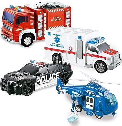 Joyin Juego De 4 Unidades De Juguete De Héroe De La Ciudad Que Incluye Camión De Bomberos Ambulancia Coche De Policía Y Helicópteros De Emergencia Con Luz Y Sonido Toys