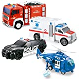 JOYIN 4 Pack Friction Powered City Hero Play Set Including Fire Engine Truck, Ambulance, Police Car and Helicopter Emergency