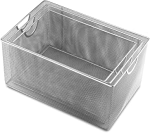 YBM HOME 2321-1116-198set Open Bin Storage Basket Organizer, Set of 3 13.25 x 8.5, 12 x 8 & 14.5 x 9, Silver, 3 Count