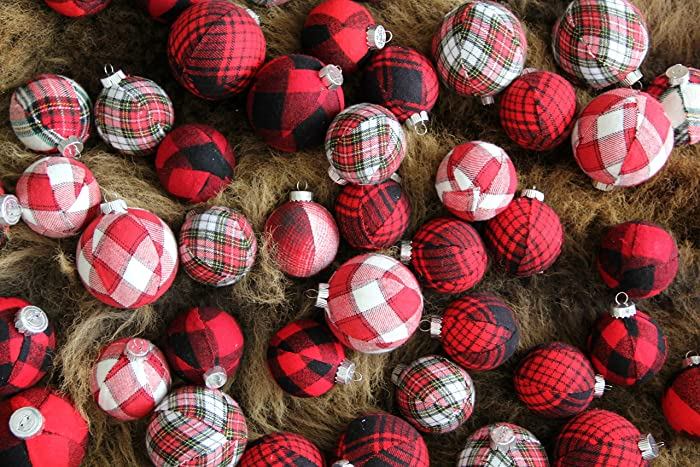 red black buffalo plaid christmas ornaments jumbo set - Buffalo Plaid Christmas Decor
