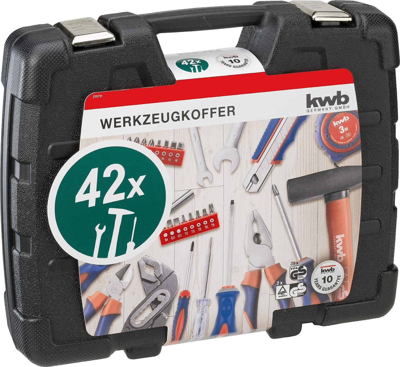 id/éal pour la maison ou le garage 42 pi/èces dans un coffret en plastique pratique. certifi/é GS robuste et de qualit/é sup/érieure rempli kwb 370733 Coffret /à outils avec embouts de vis