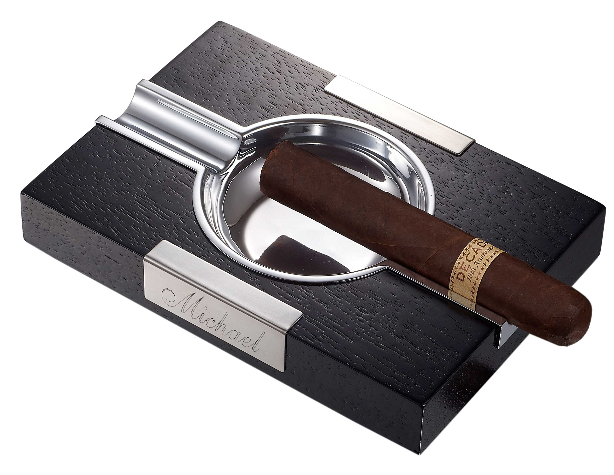 Personalized Wooden Cigar Ashtray with Free Engraving