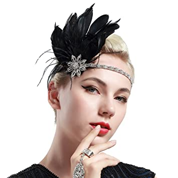 BABEYOND Vintage 1920s Flapper Headband Roaring 20s Great Gatsby Headpiece  with Feather 1920s Flapper Gatsby Hair f7aab2014707