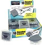 "Sargent Art 36-1018 18 Kneaded Erasers, 1-1/2"" x 1-3/8"" x 3/8"" ea"