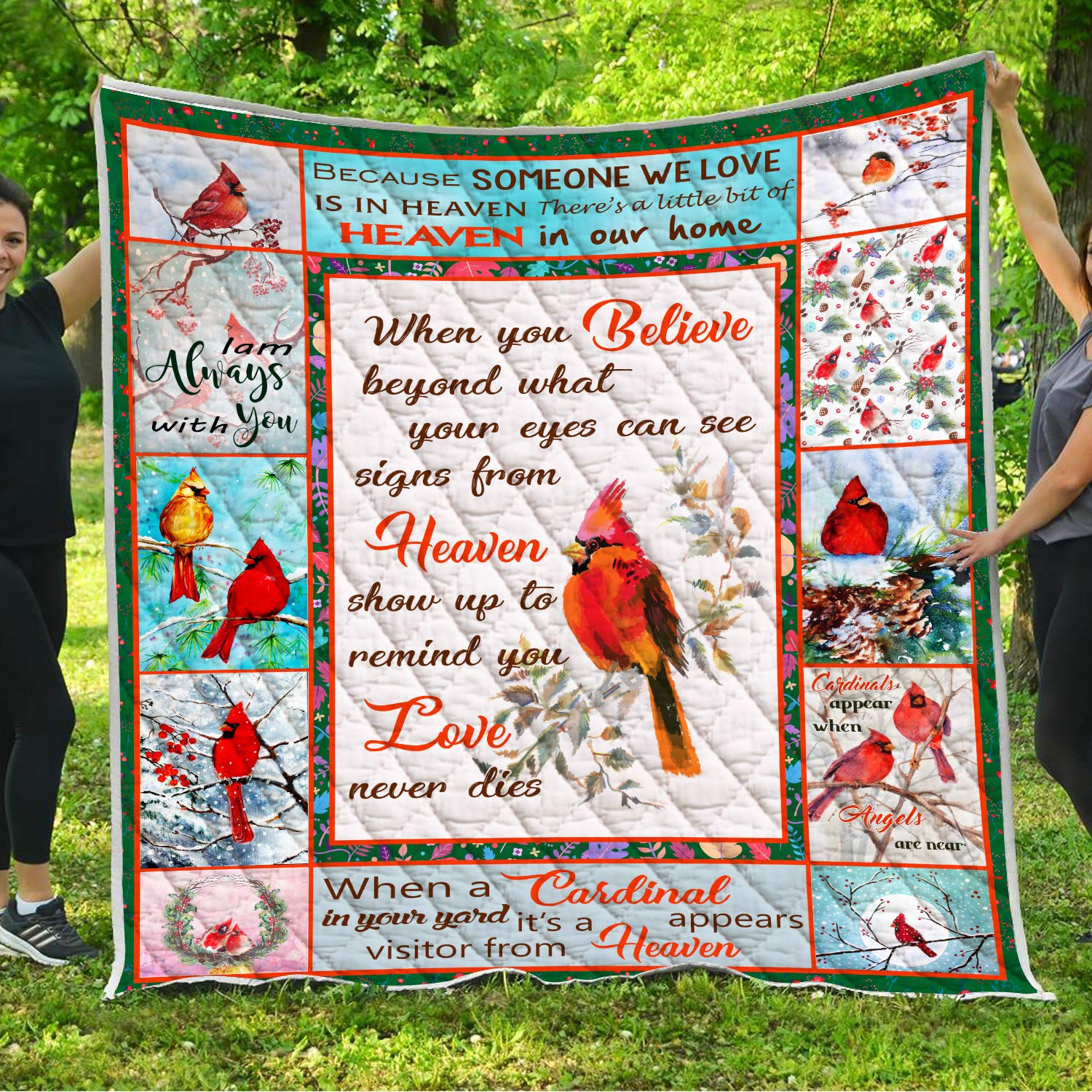 Memorial Cardinals Appear Quilt Pattern Quilted Blanket Birthday Christmas Memory Gifts for Dad Mom Wife Husband Son Daughter Kids Baby Grandma Nana Papa Mother Father Sister Brother Daddy Mommy by VTH Global