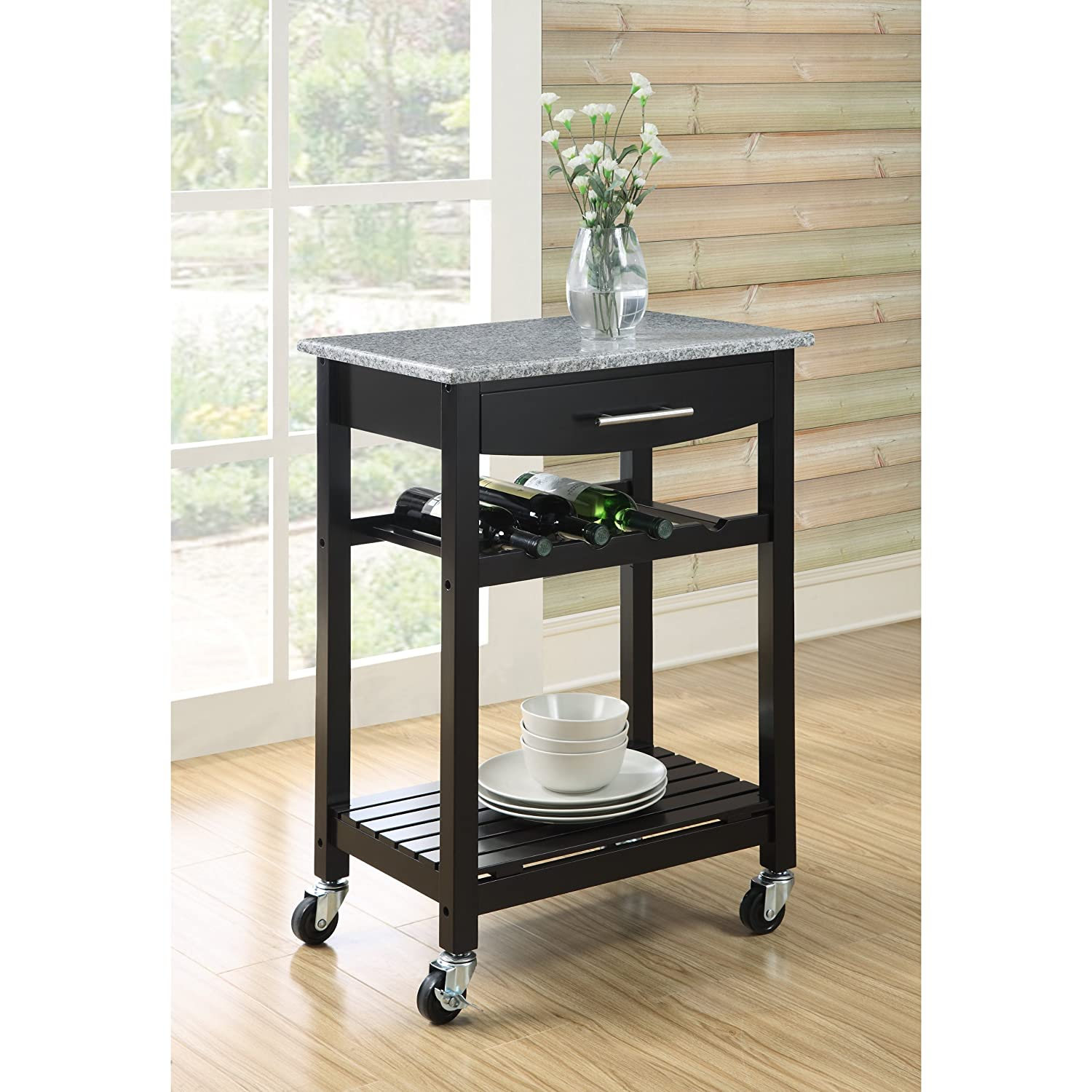 Amazon.com   Dorel Living Granite Top Kitchen Cart   Kitchen Islands U0026 Carts