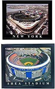 New York Mets Citi Field Opening Day and Shea Stadium Framed Aerial Photos (Set of 2)