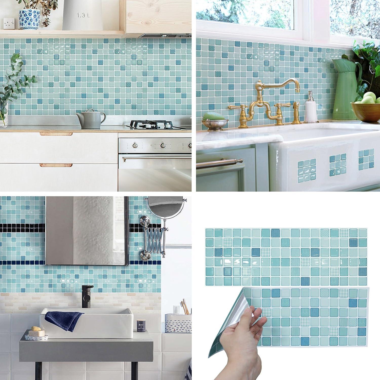 BEAUSTILE Decorative Tile Stickers Peel Stick Backsplash Fire Retardant Tile Sheet (2, Mint) UNIDESIGN ALT-16