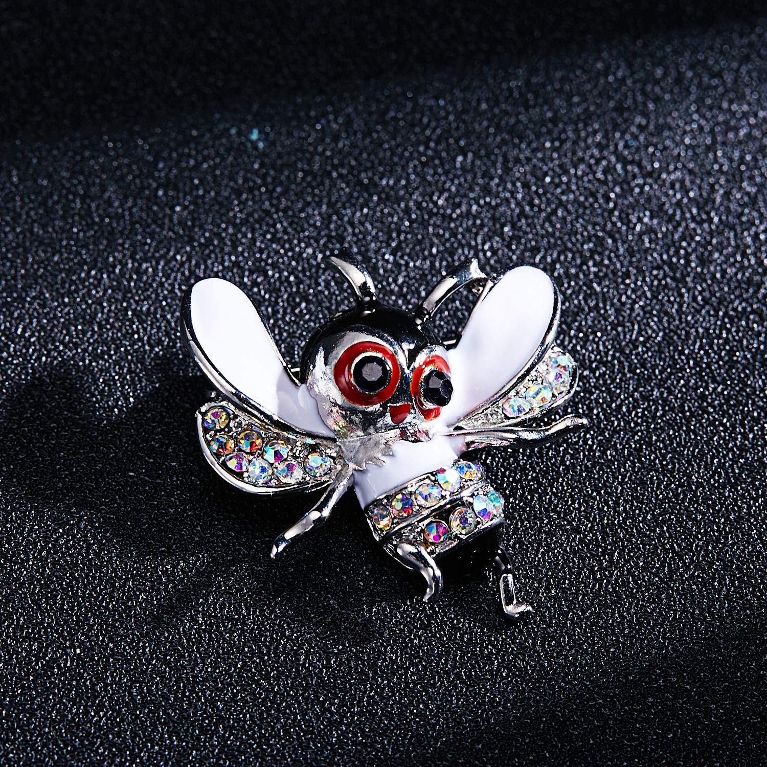 3Pcs Cute Honeybee Enamel Brooches Pin Antique Crystal Rhinestones Bee Scarf Clips for Women Girls (Style5) by beemean (Image #2)