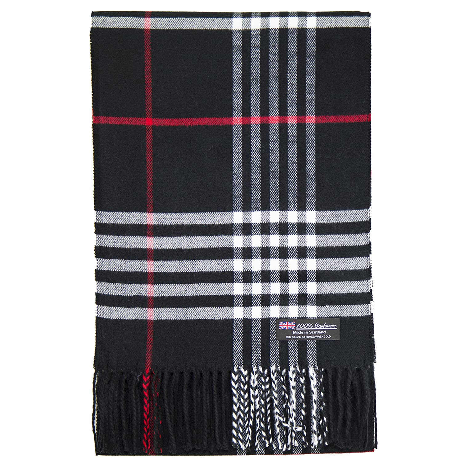 2 PLY 100/% Cashmere Scarf Tartan OS Big Check Plaid Scotland Wool Wrap Muffler