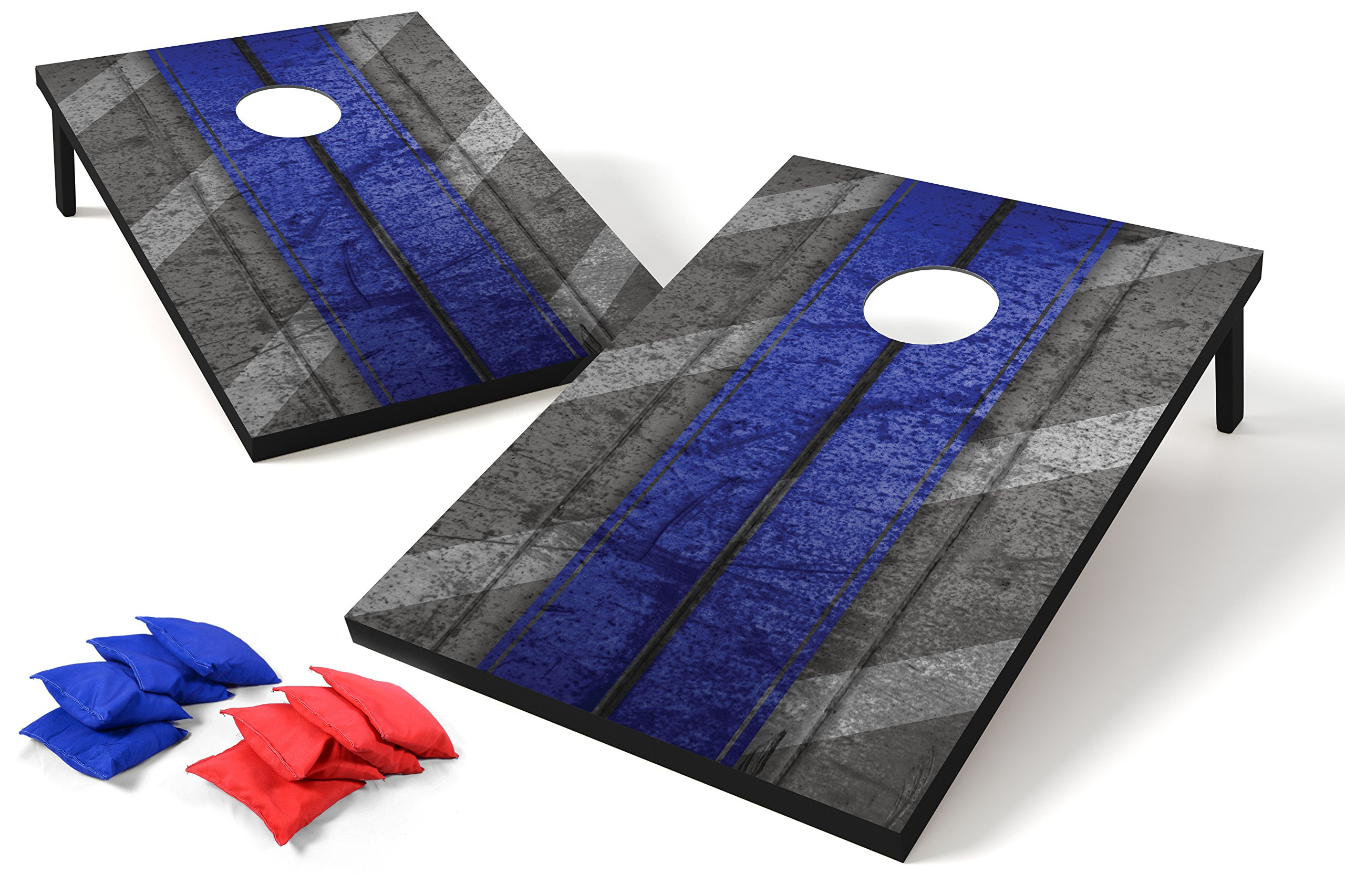 Backyard Champs Tailgate MDF Cornhole with 8 Regulation Bean Bag Set - 2 x 3 Feet, Blue