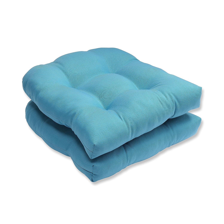 Pillow Perfect Outdoor Indoor Tweed Wicker Seat Cushion Set of 2 , Aqua