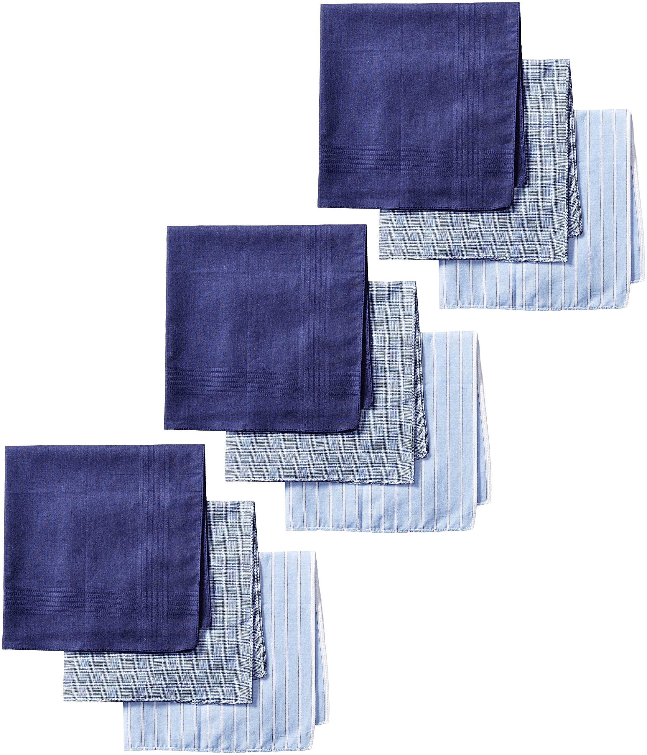 Dockers Men's 9 Piece Hankie Gift Set,Blue Assorted,One Size