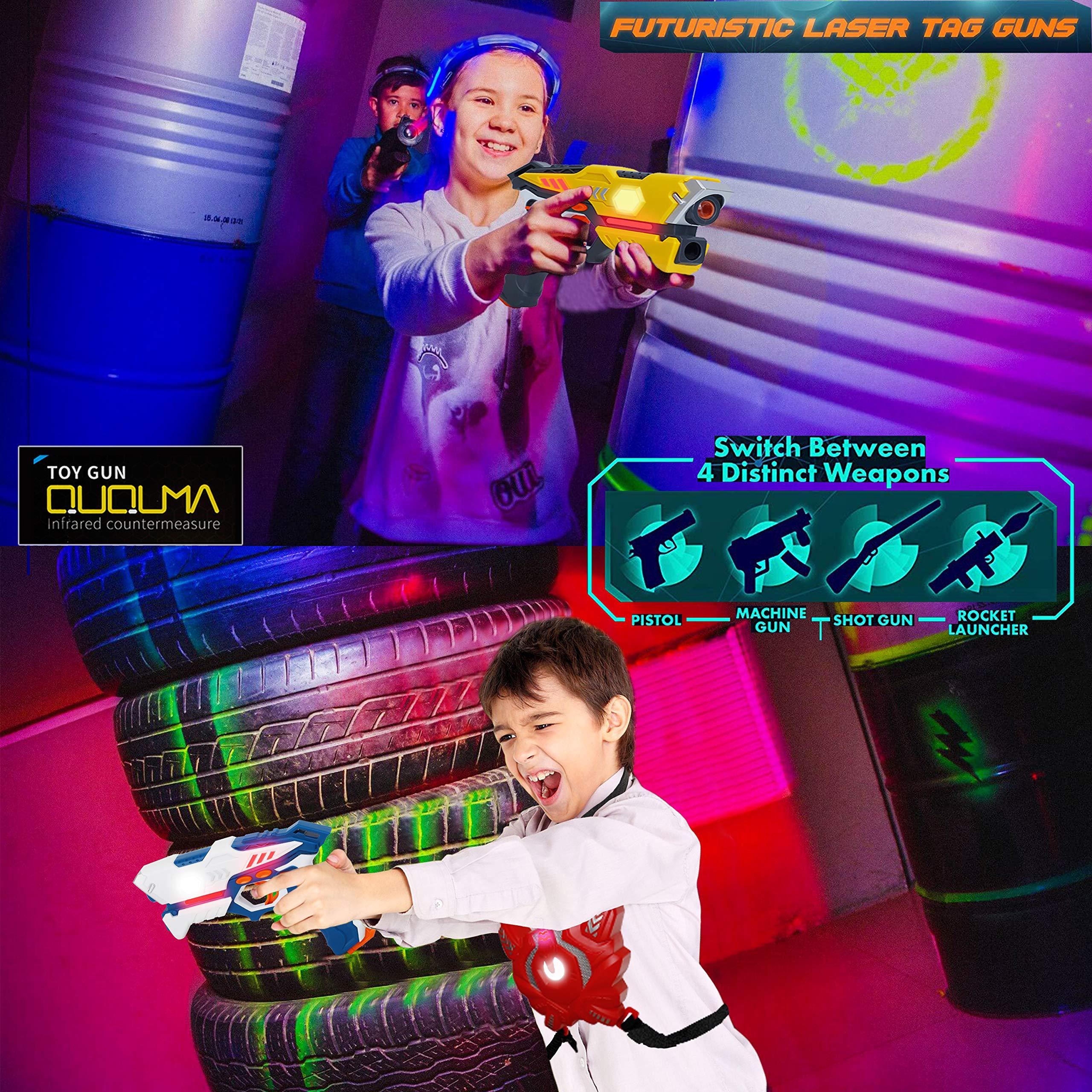 QUQUMA Infrared Laser Tag Set 4 Guns 4 Vests - Indoor Outdoor Laser Gun Kit Toy for Girl & Boy Laser Tag Game Set Best Gift Boys Girls(Laser Guns) by QUQUMA (Image #3)