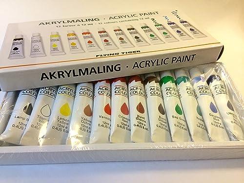 フライングタイガーコペンハーゲン アクリル絵の具 12色セット