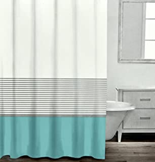Modern Striped Shower Curtain By Caro Home  Contemporary Horizontal Stripe  100  Cotton Turquoise BlueAmazon com  Tahari Fabric Shower Curtain Gray Words Writing on  . Blue And Silver Shower Curtain. Home Design Ideas