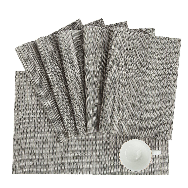 Pauwer PVC Placemats Set of 6 Washable Woven Vinyl Placemat for Kitchen Table Heat Resistant Non-Slip Kitchen Table Place Mats Wipe Clean (6pcs Placemats, Silver Grey) by Pauwer (Image #2)