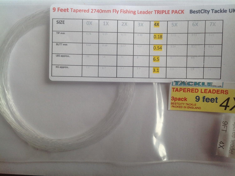 Pesca con mosca líderes cónicos unidades seis tamaño 4X aprox 13,23 libras Prueba 274,32 cm largo BestCity Tackle