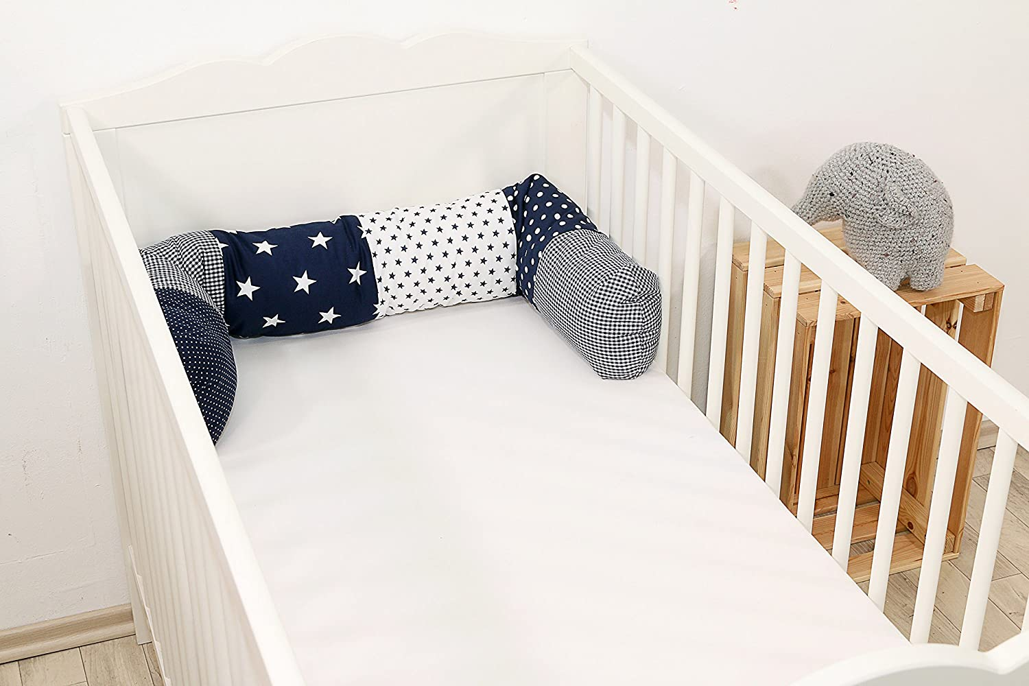 Super Soft Baby Blue//White Luxury Quilted Cotbed Mattress Enhancer with Microfibre Liner to Fit Mattress Size 140x70cm