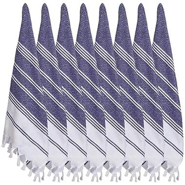BOSPHORUS (SET of 8) Turkish Cotton Hand Face Head Guest Gym Towel Set Peshtemal Washcloth Kitchen Tea Towel Dish Cloth Set (Navy)