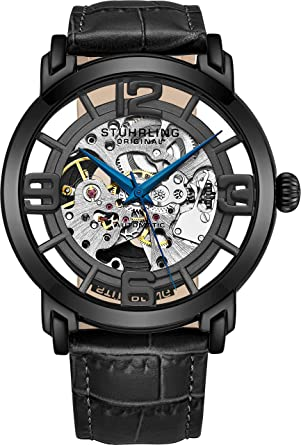 b2630a9df Stuhrling Original Men's 165B2.335569 Winchester 44 Automatic Skeleton  Black Dial Watch