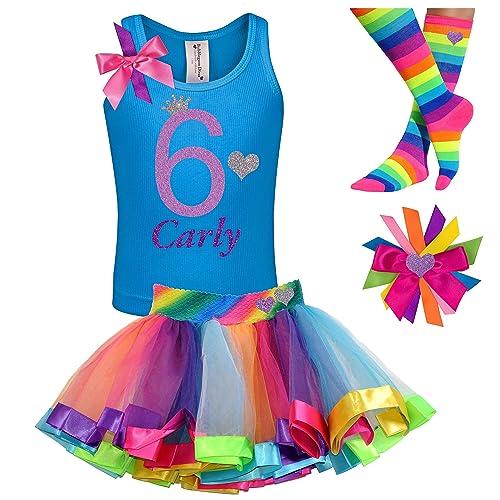 Bubblegum Divas Big Girls 6th Birthday Shirt 6 Rainbow Tutu Socks Hair Bow 4pc Outfit