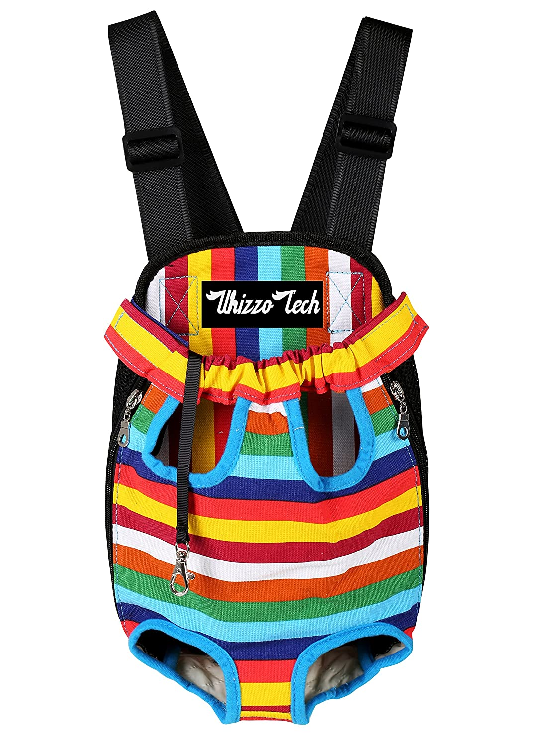 Rainbow L Rainbow L Whizzotech Pet Carrier Backpack, Adjustable Pet Front Cat Dog Carrier Backpack Travel Bag, Legs Out, Easy-Fit for Traveling Hiking Camping PB03 (L, Rainbow)