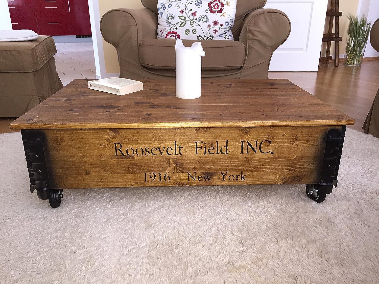 uncle joes 75752 couchtisch roosevelt field holz mit klappbarem deckel vintage shabby chic 100 x 65 x 30 cm hellbraun amazonde kche haushalt - Vintage Wohnzimmertisch