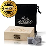 Amerigo Premium Whiskey Stones Gift Set by Water Down Your Whiskey? Never Again! Set of 9 Whiskey Rocks - Chilling Stones Packaged in an Exclusive Wooden Gift Set - Drinking Stones + Free Ebook
