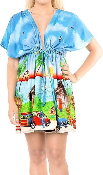 Ladies Beach Wraps and Cover ups 2019 Womens V-Neck Bohemia Beach Dress Short Sleeves Boho Swimwear for Holiday Beachwear Bikini Bathing Suit