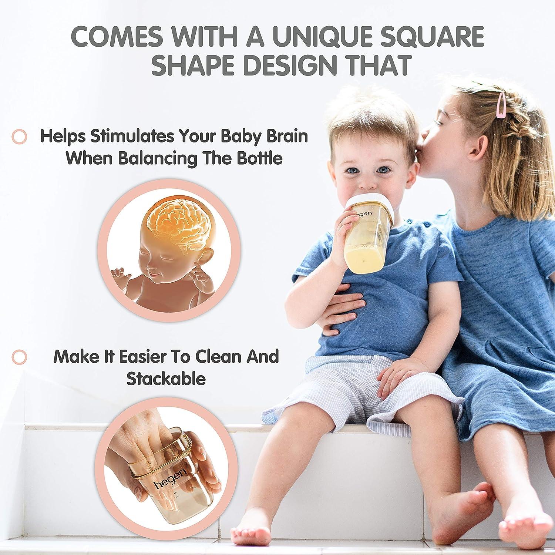 Anti Colic Baby Bottles Wide Neck Breastfeeding System 11 oz with Fast Flow Teats Hegen Baby Bottles