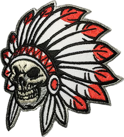 Papapatch Native American Indian Chief Feather Death Skull Biker Motorcycle  Vest Embroidered Sewing Iron on Patch (NATIVE-INDIAN)