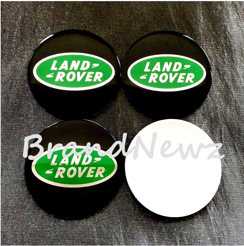 55MM DOME LAND ROVER BLACK GREEN EMBLEM WHEEL CENTER CAP STICKER LOGO BADGE WHEEL TRIM SET OF 4