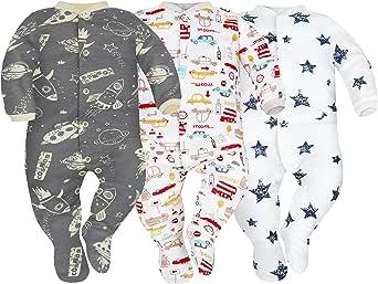 Sibinulo Niño Niña Pijama Bebé Pelele de Algodón- Tamaños 56-74 - Pack de 3: Amazon.es: Ropa y accesorios