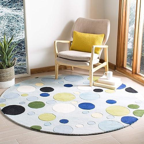 Safavieh Soho Collection SOH753C Handmade Blue and Multi Premium Wool Round Area Rug 8 Diameter