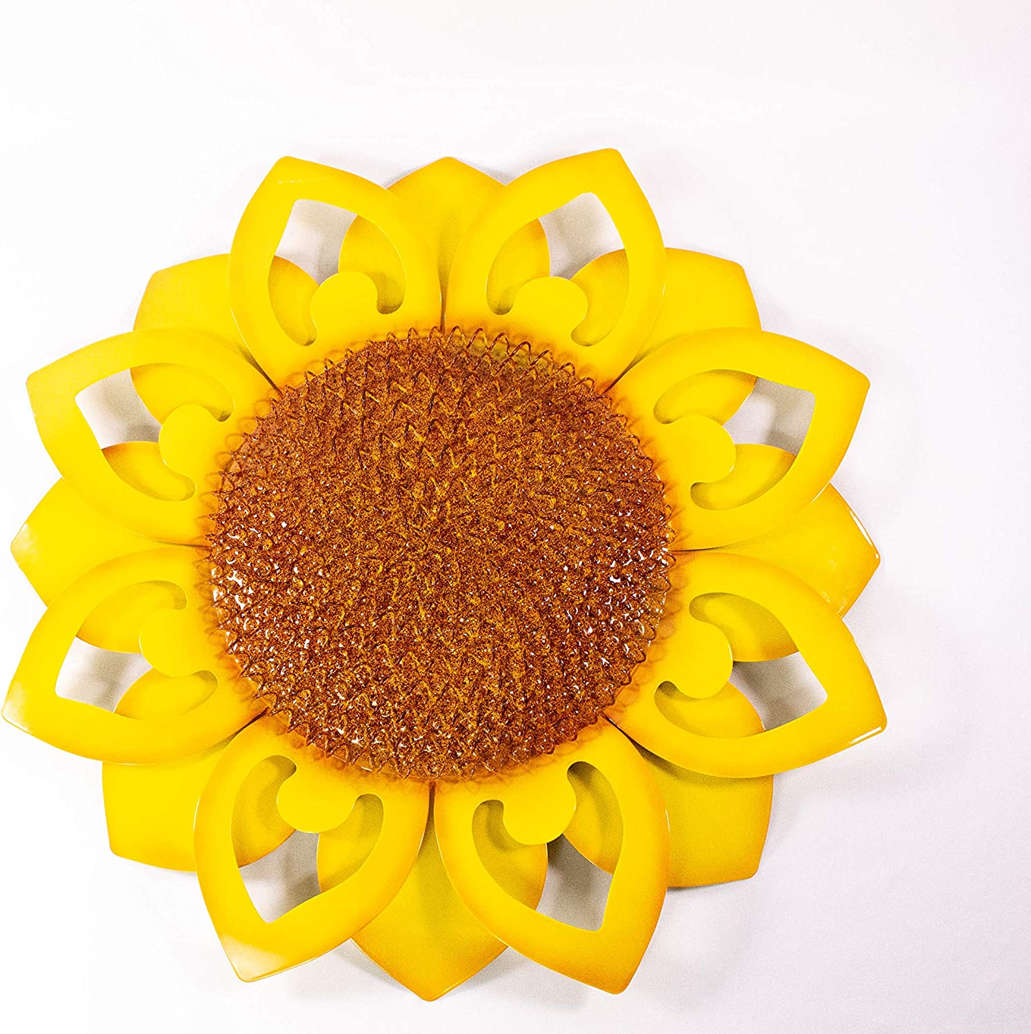 Metal Sunflower Wall Art Decor - 22 Inch Yellow Inspirational Floral Home Decor. Aesthetic Room Decor. Hanging Decoration for Indoor and Outdoor On Fence, Living Room, Porch, Patio, Garden, Hallway.
