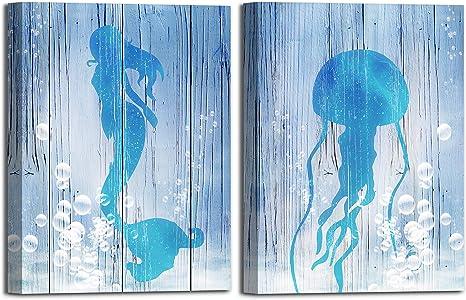 NUDE MERMAID SHIP SEA MODERN DESIGN CANVAS PRINT WALL ART PICTURE