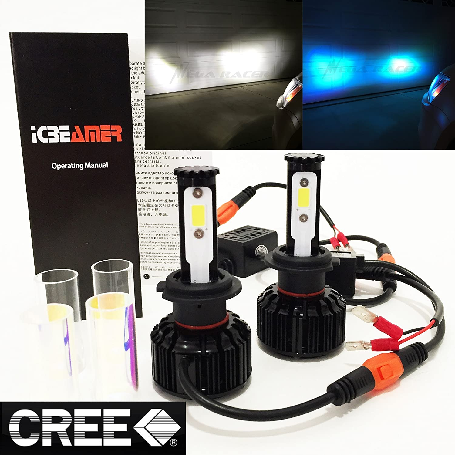(2 COLORS IN 1 SET) H7 6000K White 10000K Blue (Low Beam Headlight) CREE COB LED Xenon Conversion Kit 8000 Lumen 80W USA