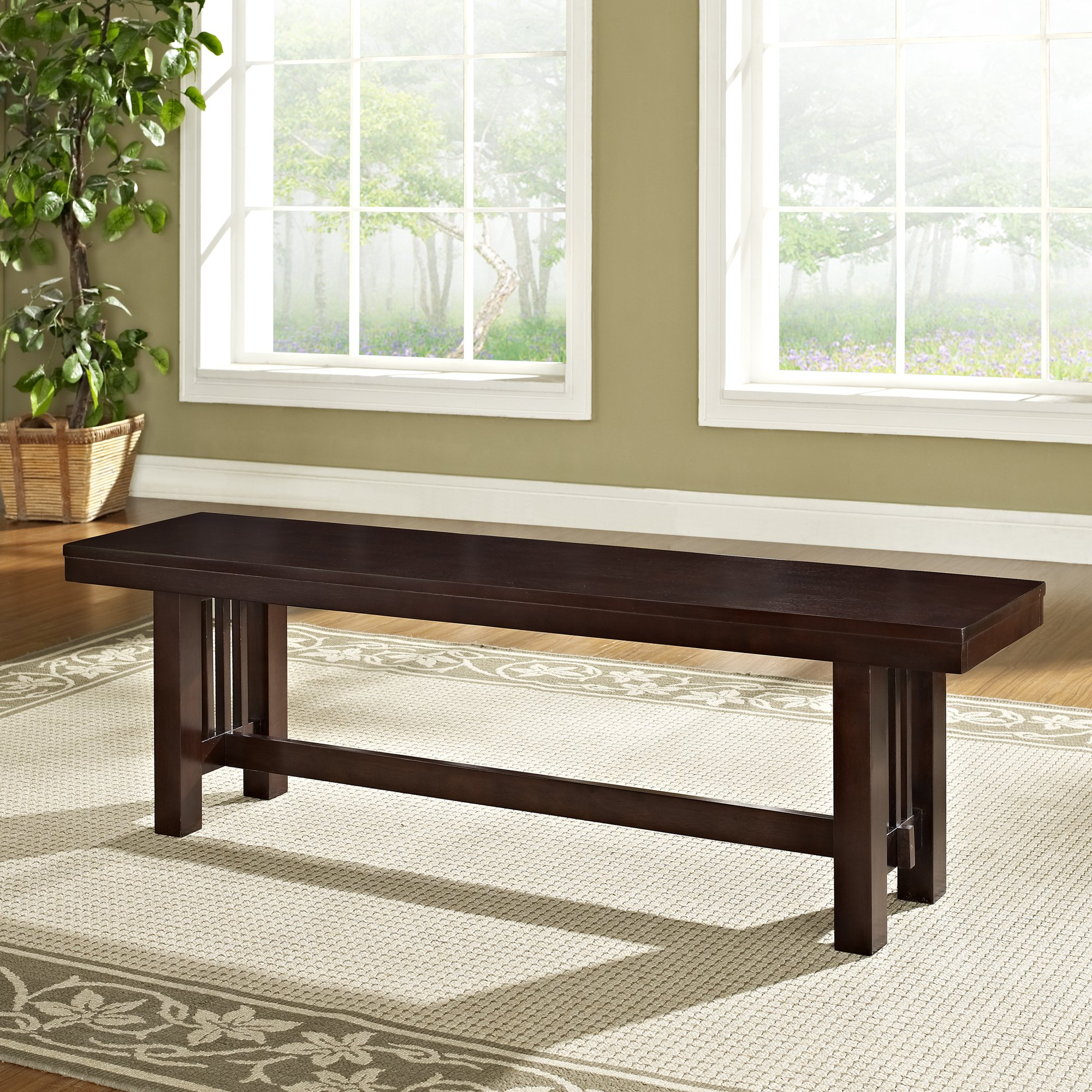 WE Furniture Solid Wood Cappuccino Dining Bench