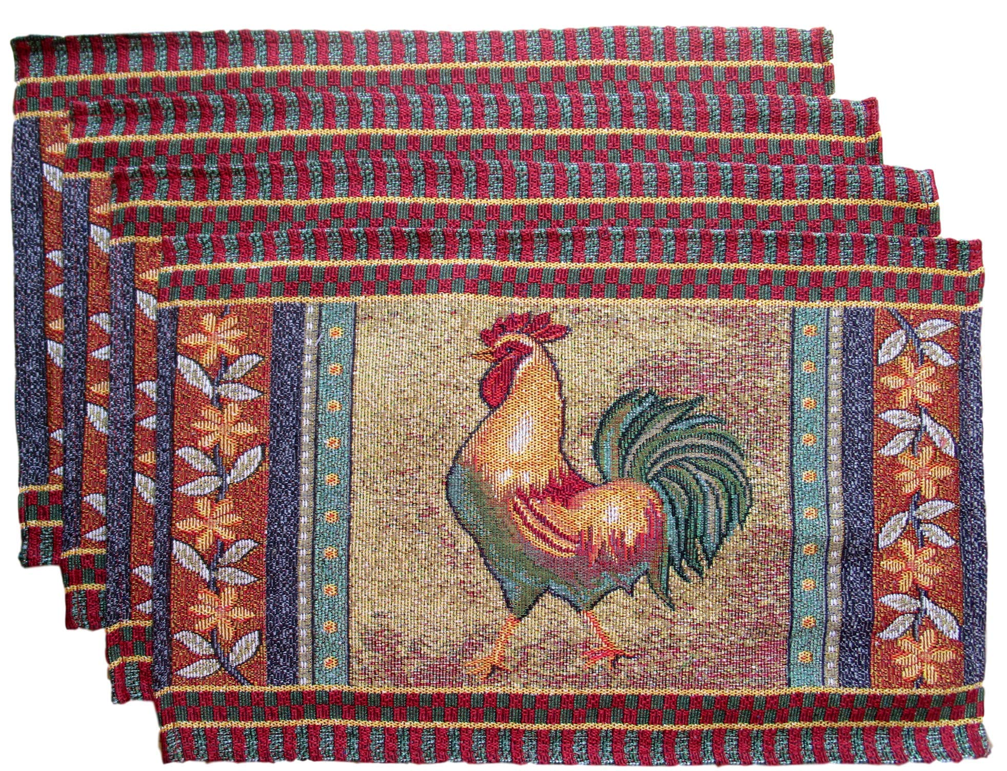 HomeConcepts Farm to Table Woven Tapestry Place Mats - Roosters on Barn Board (Golden Rooster with Yellow Flowers)